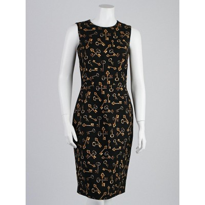 Dolce & Gabbana Black Key Print Wool Blend Sleeveless Dress Size 8/42