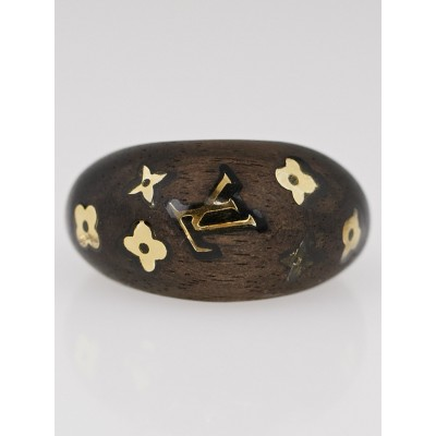 Louis Vuitton Dark Tigerwood Silvania Ring Size M
