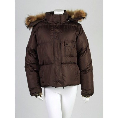 Burberry London Brown Quilted Nylon Blend Raccoon Fur Trim Down Puffer Coat Size XL