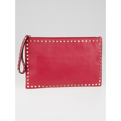 Valentino Cyclamen Nappa Leather Rockstud Large Clutch Bag