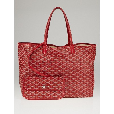 Goyard Red Chevron Print Coated Canvas St. Louis PM Tote Bag