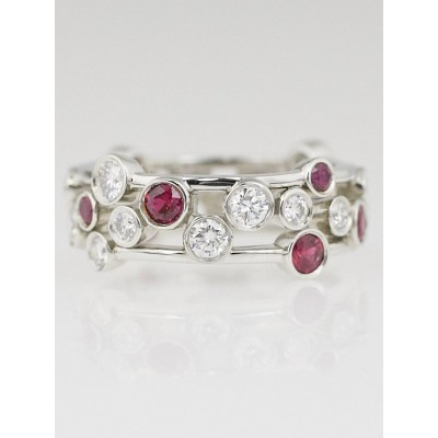 Tiffany & Co. Platinum with Diamond and Ruby Bubbles Ring Size 7