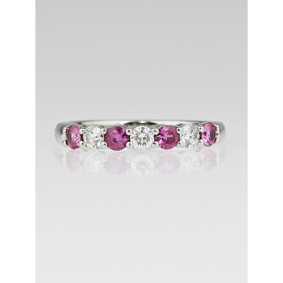 Tiffany & Co. 3mm Platinum with Pink Sapphires and Diamonds Shared-Setting Band Ring Size 5.75