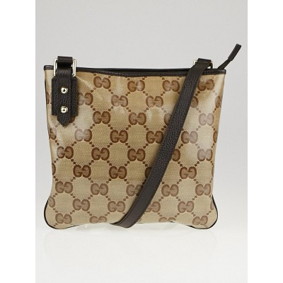 Gucci Beige/Ebony GG Crystal Canvas Messenger Bag