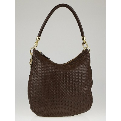 Christian Dior Brown Woven Leather Soft Shoulder Bag