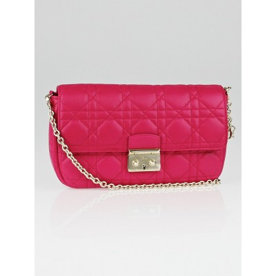 Christian Dior Fuchsia Cannage Quilted Lambskin Leather Miss Dior Promenade Pouch Clutch Bag