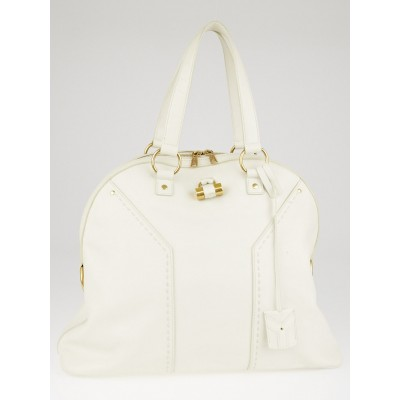 Yves Saint Laurent White Calfskin Leather Oversized Muse Bag