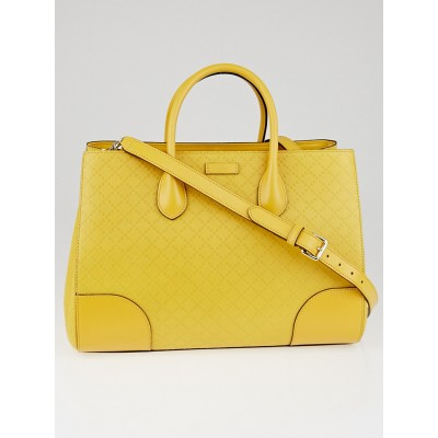Gucci Bumblebee Bright Diamante Textured Leather Top Handle Satchel Bag