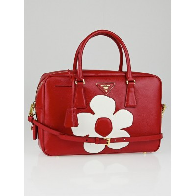 Prada Red/White Saffiano Vernice Patent Leather Flower Top Handle Bauletto Tote Bag BL095M