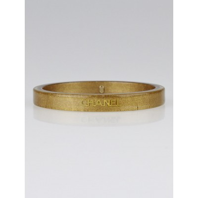 Chanel Gold Resin Logo Narrow Bangle Bracelet