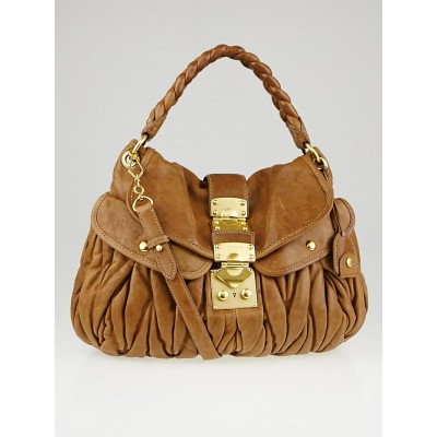 Miu Miu Cammello Matelasse Lambskin Leather Coffer Hobo Bag