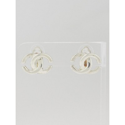 Chanel Silvertone CC Clip-On Earrings