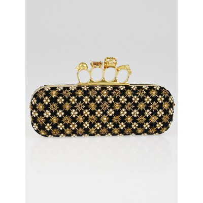 Alexander McQueen Black Velvet Jeweled Knuckle Box Clutch Bag