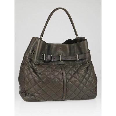 Burberry Dark Brown Quilted Leather Large Enmore Hobo Bag