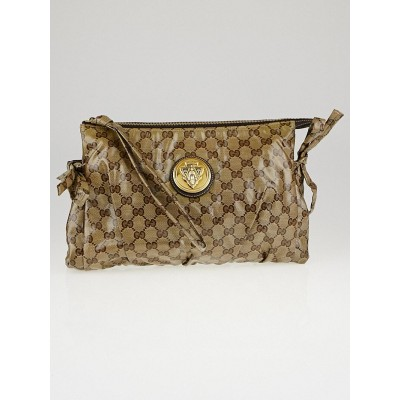 Gucci Beige/Ebony GG Crystal Hysteria Large Clutch Bag