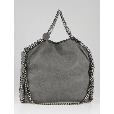 Stella McCartney Anthracite Shaggy Deer Faux-Leather Falabella Fold Over Tote Bag