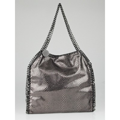 Stella McCartney Grey Metallic Faux-Python Falabella Small Tote Bag