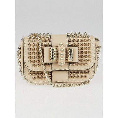 Christian Louboutin Beige Leather Mini Sweet Charity Spikes Bag