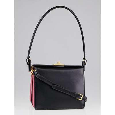 Prada Black/Begonia Box Leather Shoulder Bag B5043C - Yoogi\u0026#39;s Closet