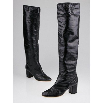 Chanel Black Distressed Leather Cap Toe Knee-High Boots Size 10/40.5