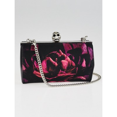 Alexander McQueen Black and Magenta Floral Print Neoprene Box Clutch Bag