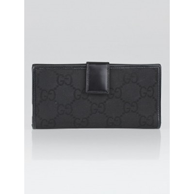 Gucci Black GG Canvas/Leather Long Flap Wallet