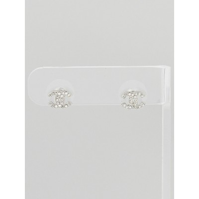 Chanel Swarovski Crystal CC Mini Stud Earrings