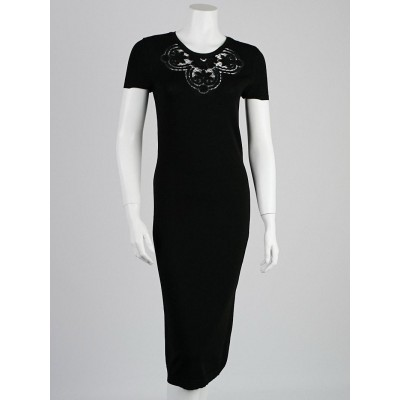 Valentino Black Viscose Mid-Length Lace Dress Size M