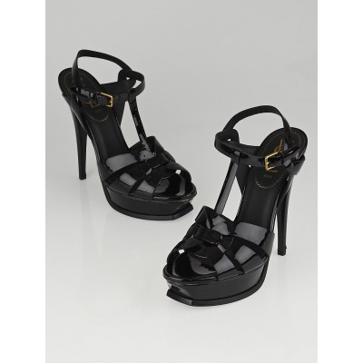 Yves Saint Laurent Black Patent Leather Tribute 105 Sandals Size 8.5/39
