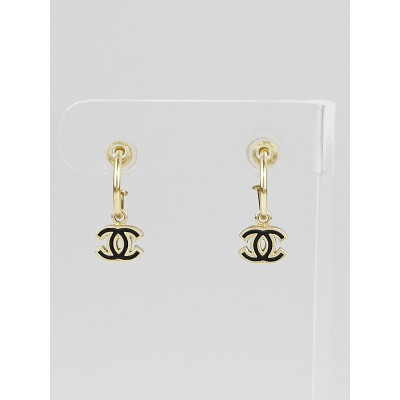 Chanel Goldtone Metal CC Drop Earrings