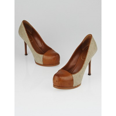 Yves Saint Laurent Natural Canvas and Brown Leather Cap-Toe Tribtoo 80 Pumps Size 9/39.5