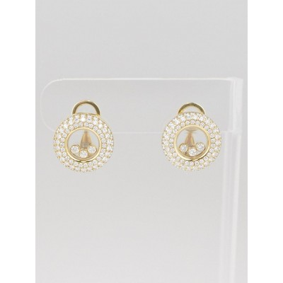 Chopard 18k Yellow Gold and Diamonds Happy Diamonds Ear Clips