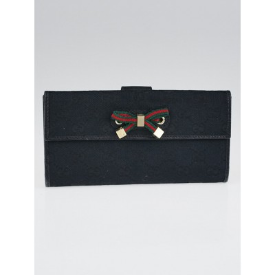 Gucci Black GG Canvas Princy Long Wallet
