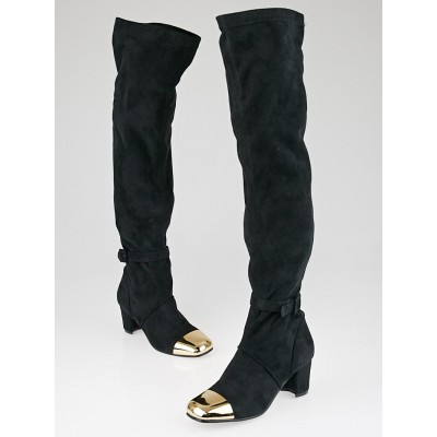 Yves Saint Laurent Black Stretch Suede Rita Thigh High Boots Size 8.5/39