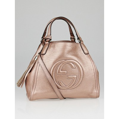 Gucci Pink Metallic Pebbled Leather Soho Shoulder Bag