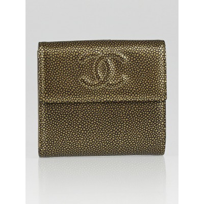 Chanel Gold Caviar Leather CC Compact Wallet