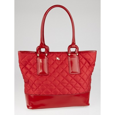 Burberry Red Quilted Nylon Large Grange Tote Bag