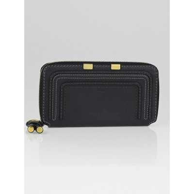 Chloe Black Leather Marcie Zip Wallet