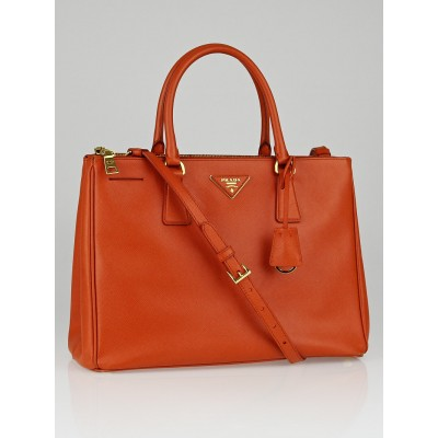Prada Papaya Saffiano Lux Medium Double Zip Tote Bag BN2274