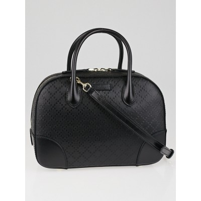 Gucci Black Bright Diamante Textured Leather Top Handle Bag