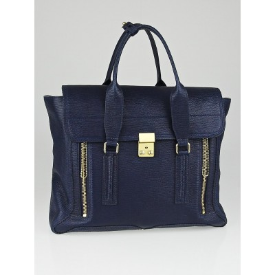3.1 Phillip Lim Navy Blue Shark Embossed Leather Large Pashli Shoulder Bag