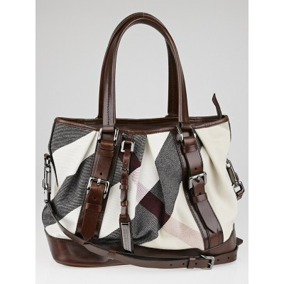 Burberry Brown Mega Check Canvas Lowry Tote Bag