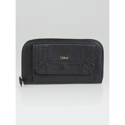 Chloe Black Pebbled Leather Paraty Zippy Wallet