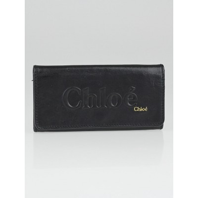 Chloe Black Lambskin Leather Logo Flap Wallet