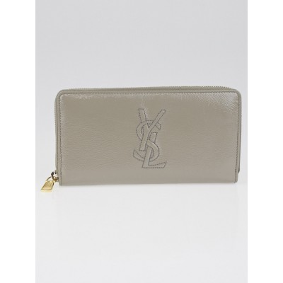 Yves Saint Laurent Grey Crinkled Patent Leather Belle Du Jour Zippy Wallet