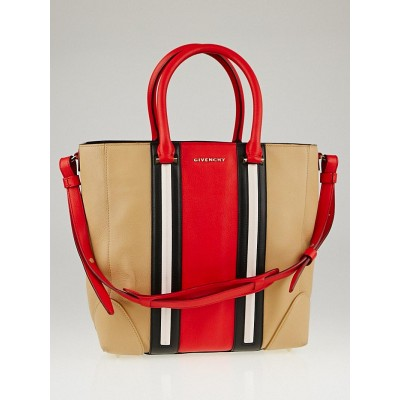 Givenchy Red Multicolor Sugar Goatskin Leather Medium Lucrezia Tote Bag