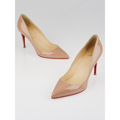 Christian Louboutin Nude Patent Leather Pigalle 85 Pumps Size 9/39.5