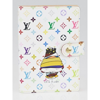 Louis Vuitton Limited Edition White Monogram Multicolore Chibi Kinoko Small Ring Agenda Cover