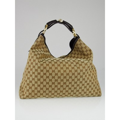 Gucci Beige/Ebony GG Canvas Large Horsebit Hobo Bag