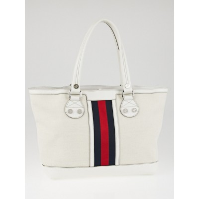 Gucci White Canvas Vintage Web Sunset Medium Tote Bag